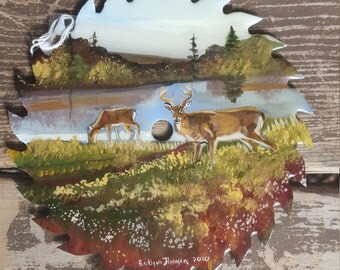 7in Hand painted saw blade featuring deer by the water