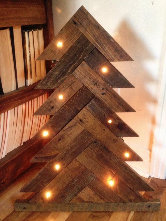 Christmas tree barn wood lights
