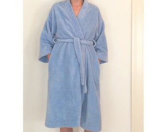 Vintage Blue Faux Fur Robe - Plush Retro Housecoat - Baby Blue Club Kids Robe with Pockets -  ROB-12