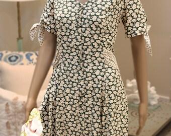 Maxi Peasant Dress Full Drape Skirt Button Down Figure Flattering Handkerchief Ties Sz L 11 - 12