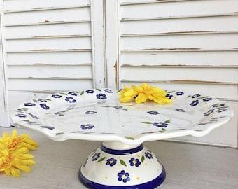 Ceramic Cake Stand - Made in Portugal, Cake Server, Cake Plate - Pretty Floral Design, Wedding Cake Stand