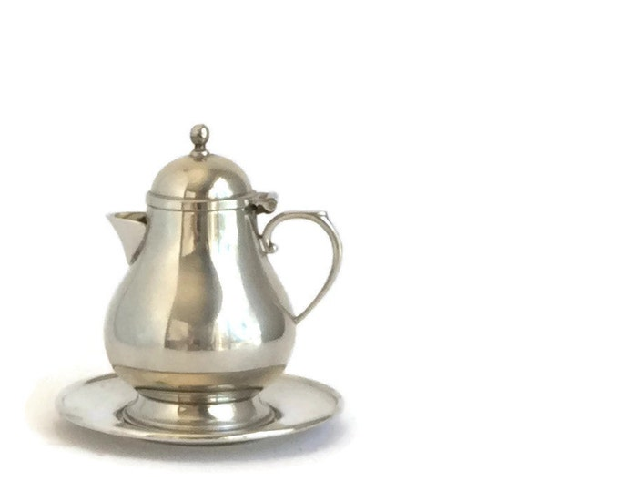 Pewter Creamer and Tray by Queen Art Pewter Made in USA