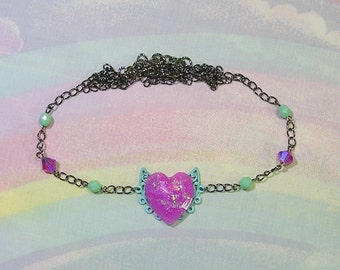 Heart Head Chain, Pastel Goth Head Chain, Heart Circlet, Heart Hair Chain, Cult Party Kei Hair Jewelry, Pop Kei Hair Accessory, Fairy Kei