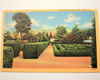 Boxwood Garden, Mt. Vernon Postcard, With stamps , dated 1953, Garden Maze postcard, Garden Postcard,