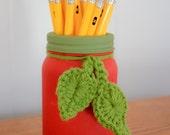 Teacher Gift | Red Apple | Mason Jar | Crochet Leaves | Chalk Paint | Pencil Holder | Desk | Office | Teacher Appreciation | Rustic Style