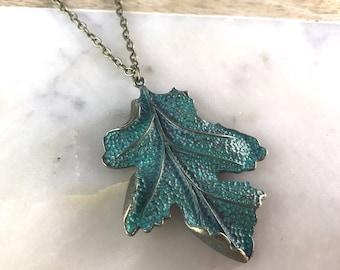 Autumn Leaf Necklace, Boho Leaf Necklace, Maple Leaf Necklace,  Brass Leaf Necklace, Rustic Leaf Necklace, Leaf Pendant, Nature Necklace
