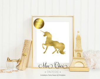Unicorn Gold Foil Print / 5x7 OR 8x10 Real Gold Foil Print / Girls Room Foil Print