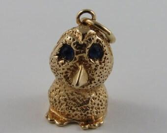 Ookpik With Blue Stone Eyes 14K Gold Vintage Charm For Bracelet