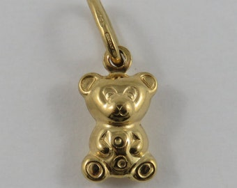 Small Teddy Bear 18K Gold Vintage Charm For Bracelet