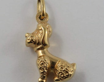 Sitting Poodle 18K Gold Vintage Charm For Bracelet
