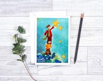 Greeting card Sower of stars, illustration by Les Bonheurs d'Amélie