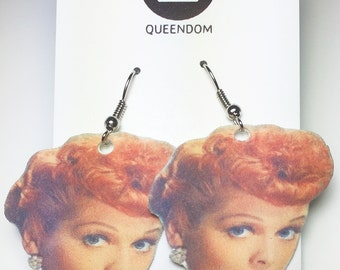 Lucille Ball Earrings, Lucille Ball Jewelry,  I Love Lucy, Celebrity Jewelry