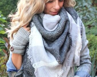 SALE!! Greys on Greys Plaid Blanket Scarf, Winter scarf, Plaid Scarf, Tartan scarf, Blanket ...