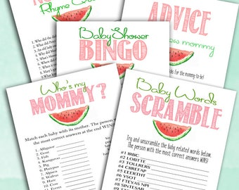Watermelon Baby Shower Game Pack - Baby BINGO - Advice and Wishes - Baby Word Scramble - Whos My Mommy - Nursery Rhyme Quiz - Summer Picnic