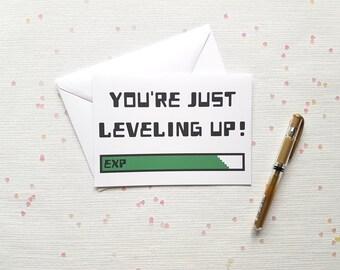 Level Up Birthday Card, Level Up, Gaming Card, Gamer Birthday Card, Gamer Card, 5x7 Greeting Card, Geeky, Nerd Birthday card