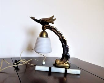 Art Deco french 2 marbles and the office or bedside 1930 s/illuminati10 bird lamp table lamp