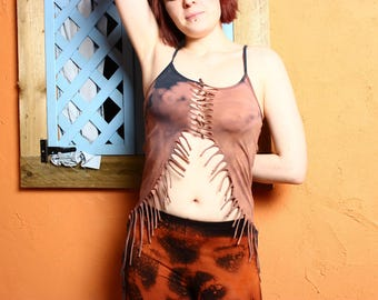 Bleached Tassle Top - Hippie Boho Bohemian Top Goa Tapestry Festival Hippy Gypsy Yoga Pagan Witch Pixie Faerie - Size 6 8 10 12 14 16