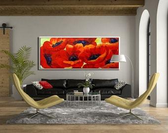 Flower Wall Art, Canvas Wall Art, Red Art Flower Wall Decor, Painting Print, Floral Art Print, Flower Art Print, Red Wall Art