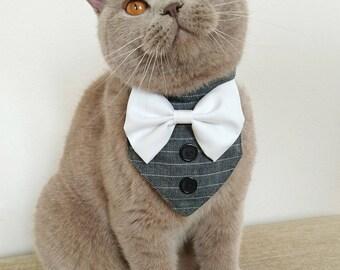 Cat wedding etsy cat wedding bandana dog wedding bandana with a choice of bow tie color elegant junglespirit Choice Image
