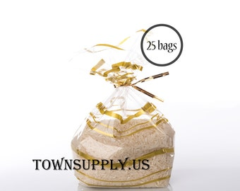 """25 - 4"""" x 2.5"""" x 9.5"""" wavy gold print clear cellophane gusset bags - food safe packaging - heat sealable cello bags - wedding party favors"""