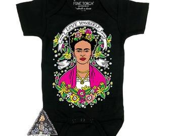 FRIDA LOVE YOURSELF skull day of the dead artist bodysuit creeper one piece boho baby clothes / Frida Baby Shower Gift / Newborn bodysuit
