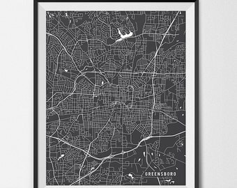 Greensboro Map Print, Greensboro Art Poster Custom City Map Art Greensboro North Carolina Map of Greensboro Gift State Map Decor