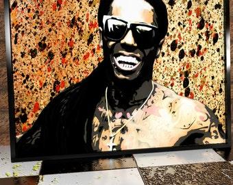Lil Wayne Painted Poster Digital Print- Giclée Print - Weezy - Hip Hop - Carter - Young Money