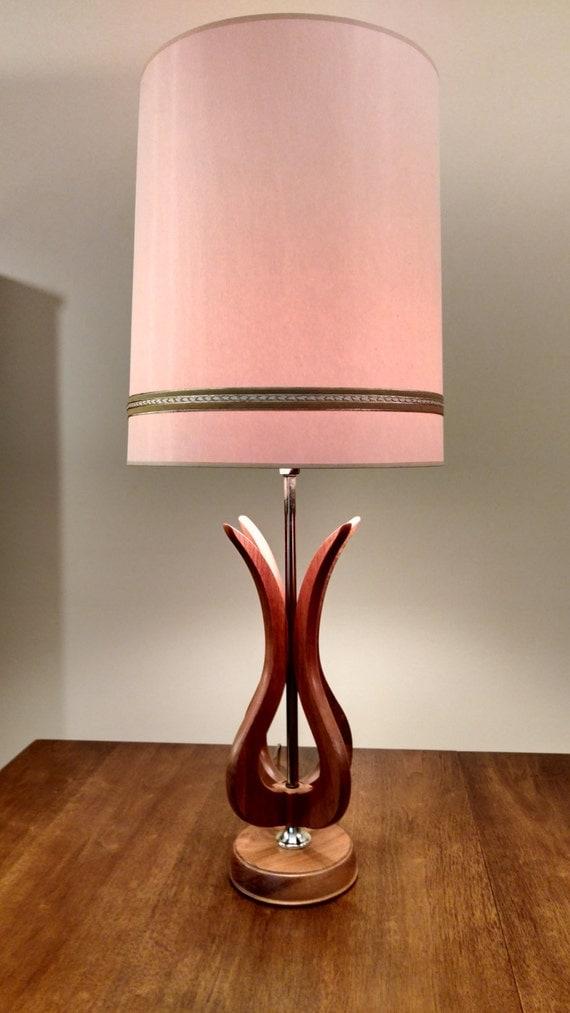 mid century wood tulip table lamp. Black Bedroom Furniture Sets. Home Design Ideas