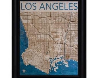 Los Angeles Wood Engraved 2D City Map - 24x30 - Laser Cut Map Decor