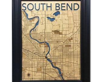 South Bend Wood Engraved 2D City Map - 24x30 - Laser Cut Map Decor