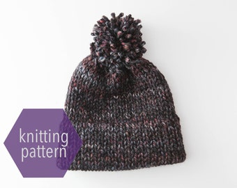 Double Brim Beanie Toque with Pom Pom Knitting Pattern >> Instant Download <<