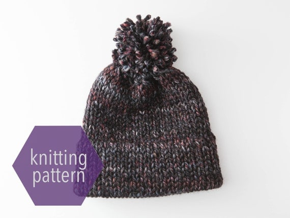 Knitting Circle Toronto : Double brim beanie toque with pom knitting pattern