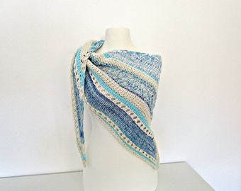 Gift for mother of bride Turquoise knit shawl Ivory knit wrap Turquoise knit stole Off white knit shawl Two color knit wrap Summer shawl
