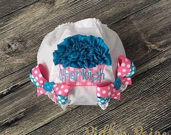 Birthday Cupcake Diaper Cover, Personalize Birthday Bloomer, First Birthday Cake Smash, Baby Girl 1st Birthday Bloomer, Hot Pink Turquoise,