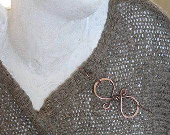 Simple Copper Shawl Pin with Twisted Wire, Medium or Heavy Knit Sweater Brooch, Copper Wire Jewelry