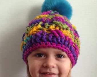 Cable hat, Crochet cable hat, crochet hat, faux fur pom pom hat, Holden cable hat, toddler crochet hat, baby crochet hat, crochet winter hat