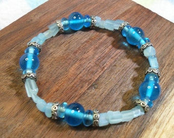 Aqua Blue Glass Bead Bracelet~ light and dark blue