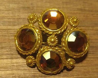 Beautiful Amber Rhinestone Brooch