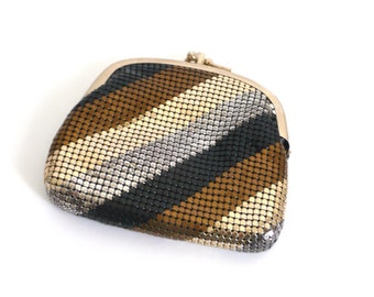 Vintage Multi-Color Metallic Mesh Double Sided Coin Purse