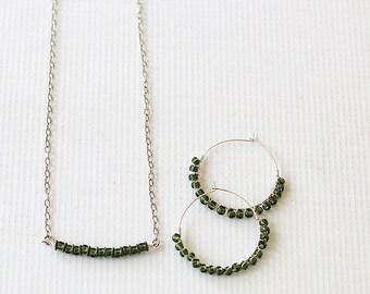 Beaded Jewelry - Minimalist Jewelry - Delicate Necklace - Beaded Hoop Earrings - Jewelry Gift Set for Mom - Wife Jewelry Gift Set