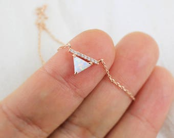 Triangle Opal Stone Rose Gold  Necklace, Rose Gold Triangle Necklace,Bridesmaid Gift,Gemstone Necklace,Birthday Gift,6078