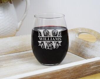 Engraved Wine Glass, Regal Split Letter, 2 Sizes, Monogrammed Wine Glasses, Personalized Glasses, Gifts for Wedding, Stemless Wine Glasses