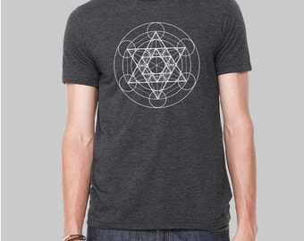 Sacred Geometry Shirt, Metatrons Cube, Graphic Tees for Men, Mens Tshirt, Graphic Tee, Gift For Men, Clothing, T Shirt, T Shirts For Men