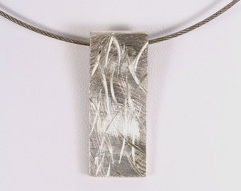 Sterling Silver Necklace, Modern necklace, Geometric Pendant, Modern Textured Pendant with chain