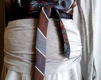 Waist Belt, Wrap Belt, Fashion Belt, Floral Print, Floral and Strips, Upcycled Men's Neck Tie, OBI Belt