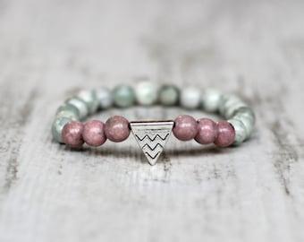 tender pastel bracelet triangle beaded bracelet girlfriend gift stretch bracelet wife gift birthday gift fashion jewelry pink bracelet