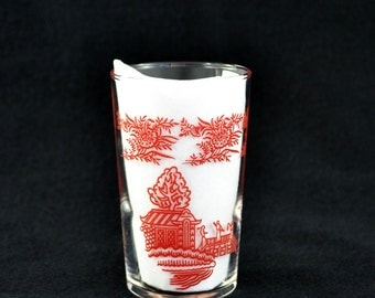 Vintage Federal Glass Asian Theme Small Juice Glass