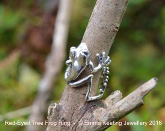 Sterling Silver Ring: Tree Frog (front facing)