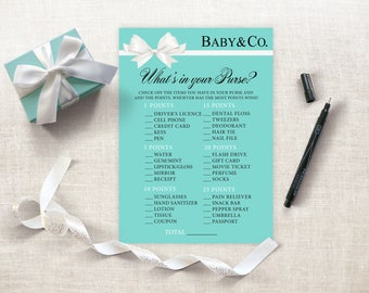 What's In Your Purse Baby Shower Game, Tiffany Baby shower Printable, Breakfast Tiffanys Baby Shower, Baby & Co Purse Game, Instant Download