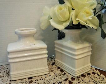 Pair of Square Vases, 2 White Vases, 2 Unique Rectangle White Bottles, Matching White Ceramic Bottles, Vase Bookends, White Home Decor